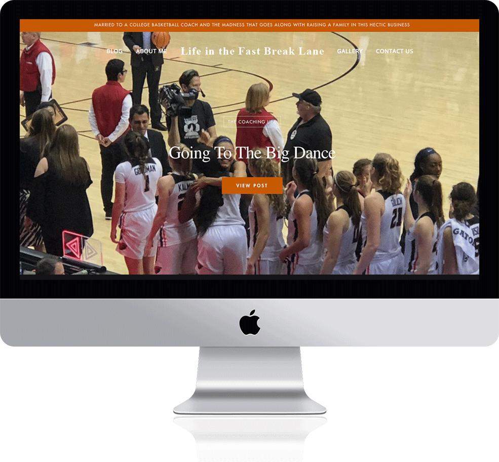 Life in the Fast Break Lane's responsive website on a Mac