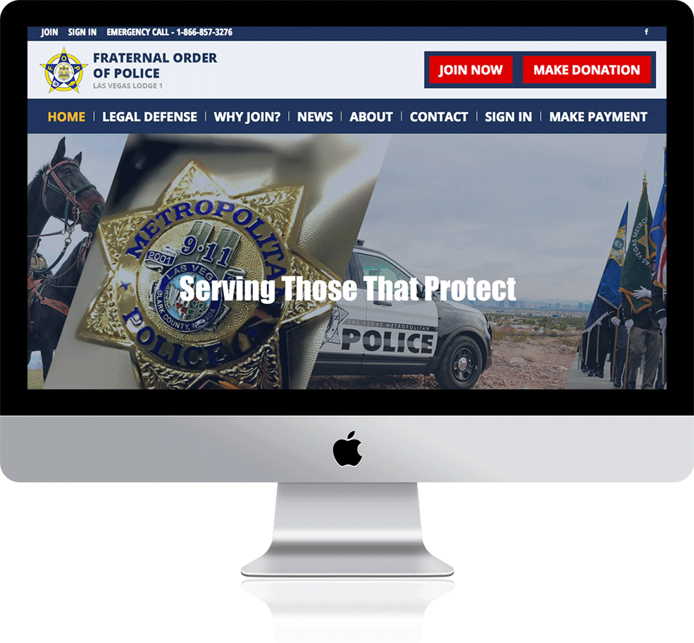 Fraternal Order of Police's responsive website on a Mac