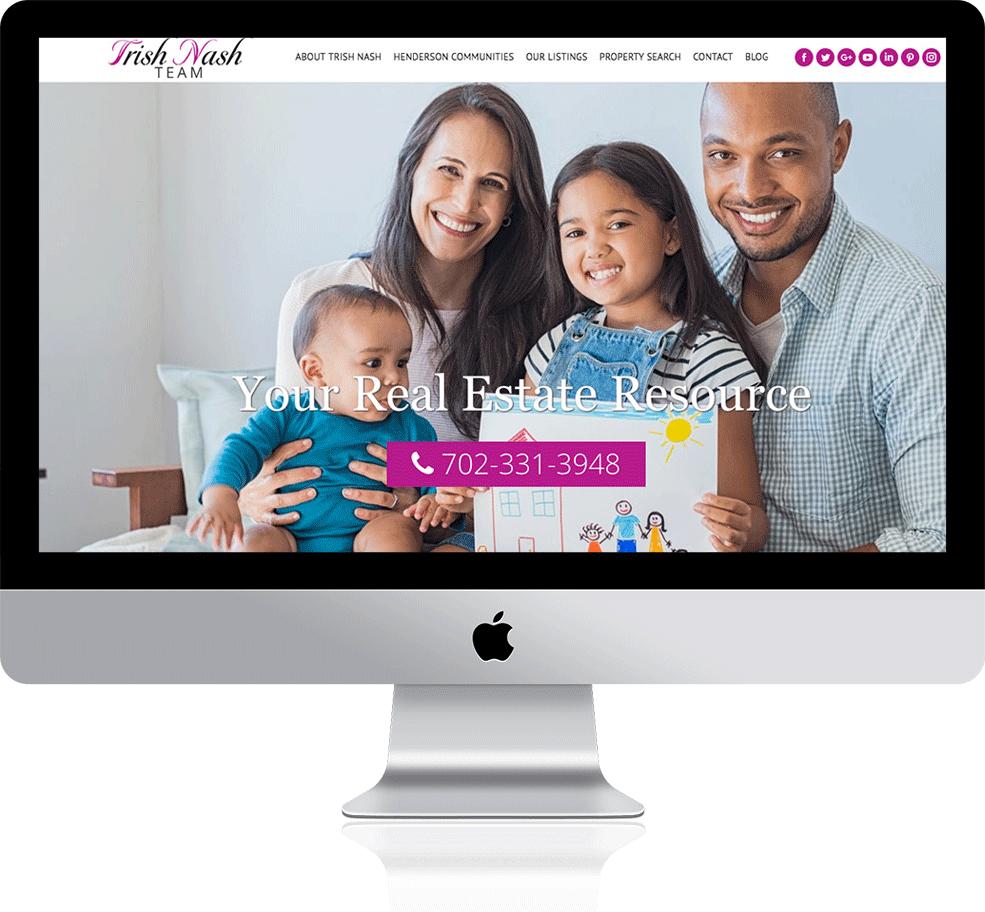 Trish Nash Team has a responsive website design on a Mac