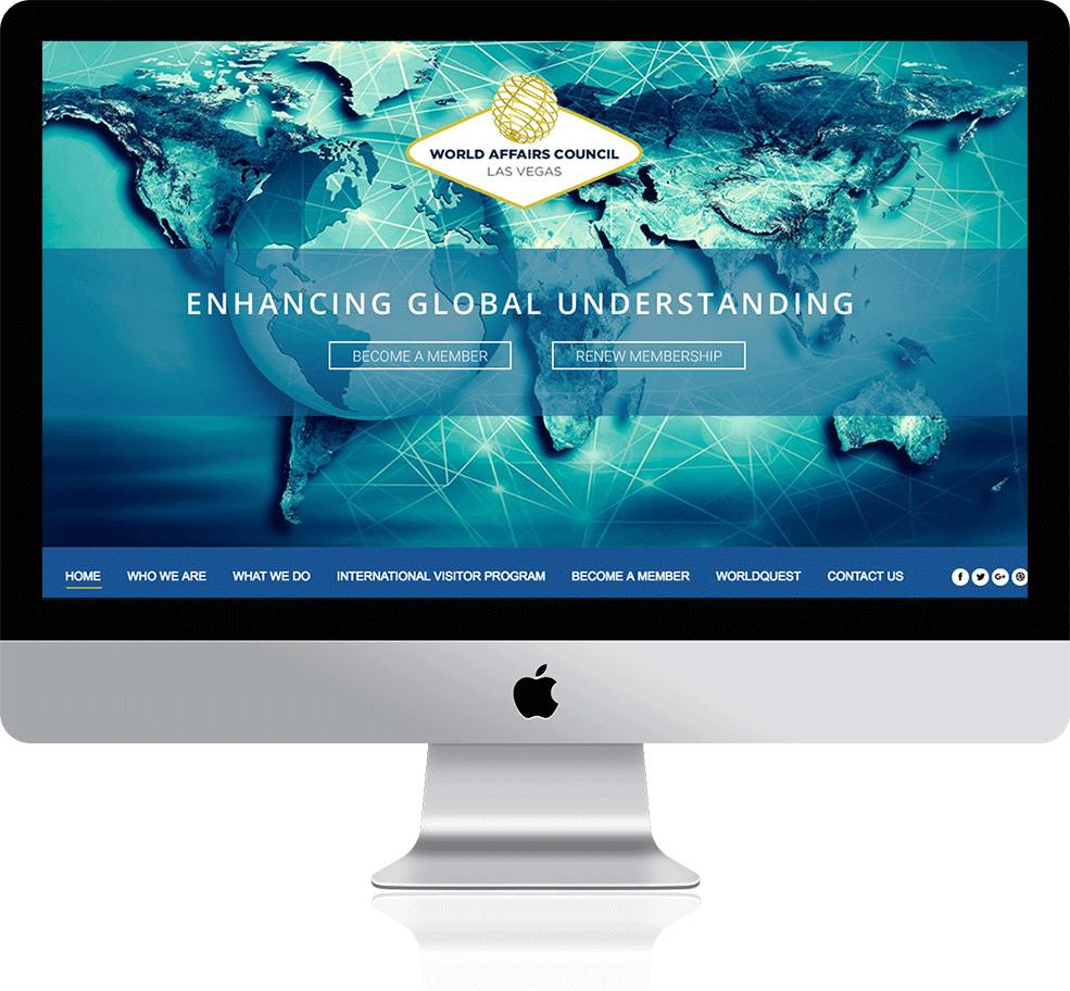 World Affairs Council Las Vegas' responsive website on a Mac
